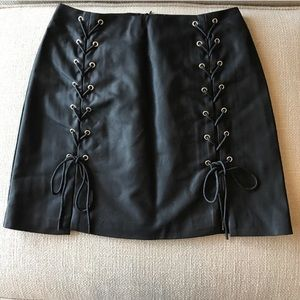 Forever 21 Lace Up Leather Skirt